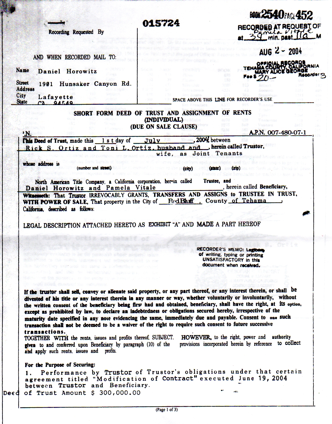 Rick Ortiz Property Deed                                         Document Red Bluff, CA Tehama                                         County Danile HOrowitz Pamela                                         Vitalesc
